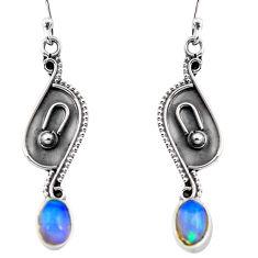 2.92cts natural multi color ethiopian opal 925 silver dangle earrings p87665