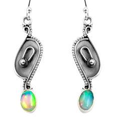 3.01cts natural multi color ethiopian opal 925 silver dangle earrings p87667