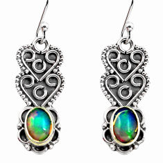 3.06cts natural multi color ethiopian opal 925 silver dangle earrings p87675