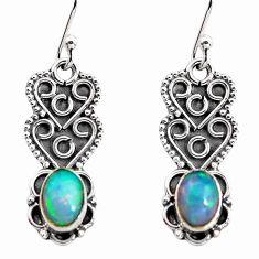 3.34cts natural multi color ethiopian opal 925 silver dangle earrings p92702