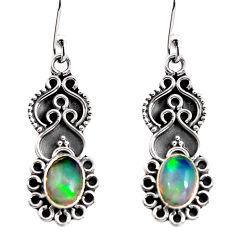 3.33cts natural multi color ethiopian opal 925 silver dangle earrings p92703