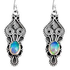 4.02cts natural multi color ethiopian opal 925 silver dangle earrings p92706