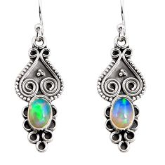 3.64cts natural multi color ethiopian opal 925 silver heart earrings p91460