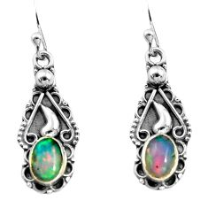 2.97cts natural multi color ethiopian opal 925 sterling silver earrings p92773