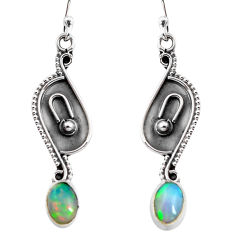 2.82cts natural multi color ethiopian opal 925 sterling silver earrings p92776