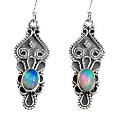 3.44cts natural multi color ethiopian opal 925 sterling silver earrings p92780