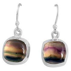 8.84cts natural multi color fluorite 925 sterling silver dangle earrings p89316
