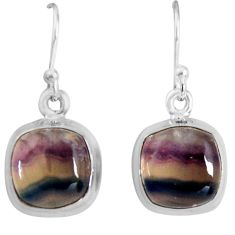 9.37cts natural multi color fluorite 925 sterling silver dangle earrings p89318