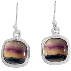 9.37cts natural multi color fluorite 925 sterling silver dangle earrings p89319