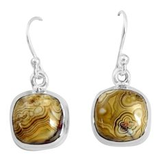 9.86cts natural multi color mexican laguna lace agate 925 silver earrings p89321