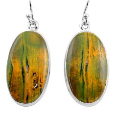 25.93cts natural multi color ocean sea jasper 925 silver dangle earrings p88673