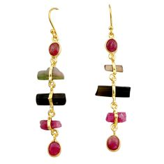 13.40cts natural multi color tourmaline 925 silver 14k gold earrings p91782