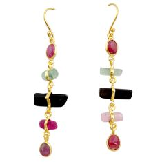 13.60cts natural multi color tourmaline 925 silver 14k gold earrings p91783