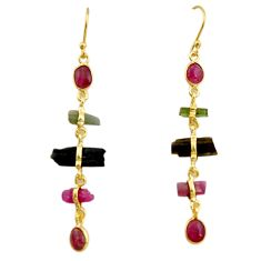 11.22cts natural multi color tourmaline 925 silver 14k gold earrings p91785