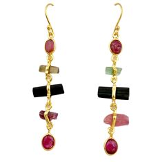 12.35cts natural multi color tourmaline 925 silver 14k gold earrings p91788
