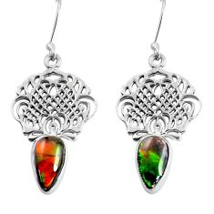 7.83cts natural multicolor ammolite (canadian) 925 silver dangle earrings d31505
