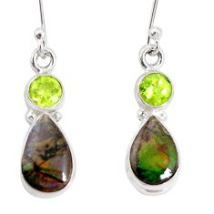 9.18cts natural multicolor ammolite (canadian) 925 silver dangle earrings p32585