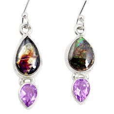 9.61cts natural multicolor ammolite (canadian) 925 silver dangle earrings p32587
