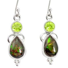 9.61cts natural multicolor ammolite (canadian) 925 silver dangle earrings p32590
