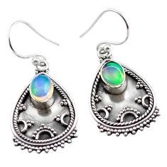 3.44cts natural multicolor ethiopian opal 925 silver dangle earrings p87280