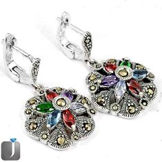 NATURAL MULTICOLOR GEMSTONE MARQUISE MARCASITE 925 SILVER DANGLE EARRINGS G74423