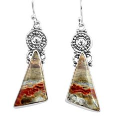 16.87cts natural multicolor mexican laguna lace agate 925 silver earrings p72712
