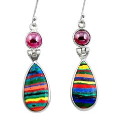 13.66cts natural multicolor rainbow calsilica 925 silver dangle earrings p50785
