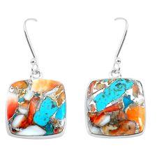 21.48cts natural multicolor sea sediment jasper 925 silver earrings d31543