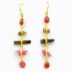 13.63cts natural multicolor tourmaline rough 925 silver 14k gold earrings p75169