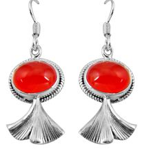 10.41cts natural orange cornelian (carnelian) 925 silver dangle earrings d32448
