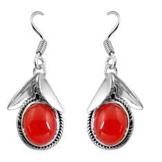 9.54cts natural orange cornelian (carnelian) 925 silver dangle earrings d32451