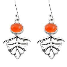 4.55cts natural orange cornelian (carnelian) 925 silver dangle earrings p50754