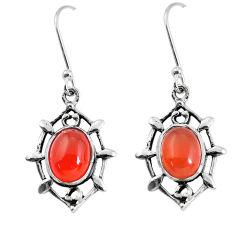 6.39cts natural orange cornelian (carnelian) 925 silver dangle earrings p58103