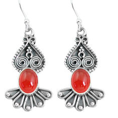 3.98cts natural orange cornelian (carnelian) 925 silver dangle earrings p60145