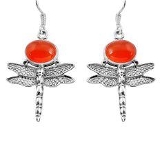 8.80cts natural orange cornelian (carnelian) 925 sterling silver earrings d32572
