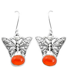 4.38cts natural orange cornelian (carnelian) silver butterfly earrings p38474