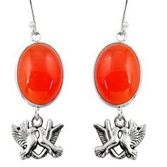 Clearance Sale- 24.22cts natural orange cornelian (carnelian) silver love birds earrings d32377