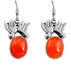 Clearance Sale- 11.30cts natural orange cornelian (carnelian) silver love birds earrings d32396