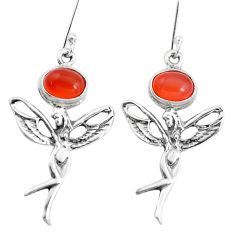 4.73cts natural orange cornelian 925 silver angel wings fairy earrings p38482