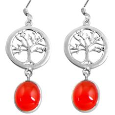 10.37cts natural orange cornelian 925 silver tree of life earrings d32447