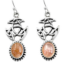 6.57cts natural orange morganite 925 sterling silver dangle earrings p60773