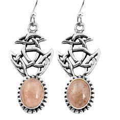 6.57cts natural orange morganite 925 sterling silver dangle earrings p60777