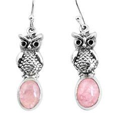 6.27cts natural orange morganite 925 sterling silver owl earrings jewelry p54969