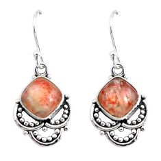 7.31cts natural orange sunstone (hematite feldspar) 925 silver earrings p52191