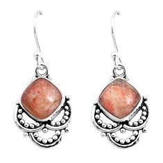 6.83cts natural orange sunstone (hematite feldspar) 925 silver earrings p52283