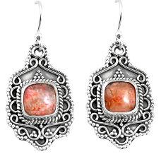 6.62cts natural orange sunstone (hematite feldspar) 925 silver earrings p52747