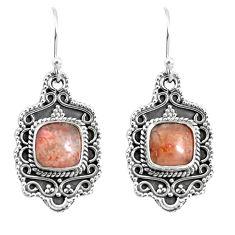 6.62cts natural orange sunstone (hematite feldspar) 925 silver earrings p52748