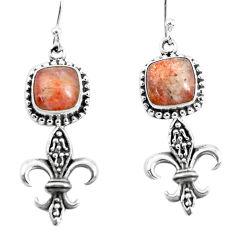 6.58cts natural orange sunstone (hematite feldspar) 925 silver earrings p54943