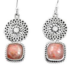 8.22cts natural orange sunstone (hematite feldspar) 925 silver earrings p55459