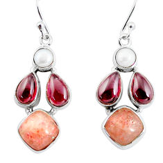 15.47cts natural orange sunstone (hematite feldspar) 925 silver earrings p57435